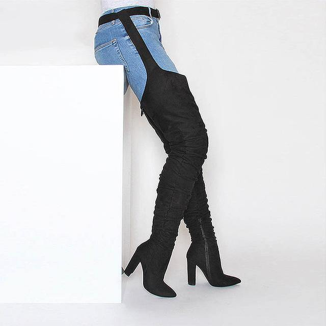 Belted Chap Style Thigh High Sueded Block Heel Boots-Over-the-Knee Boots-Look Love Lust