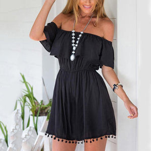 Flounce Off the Shoulder Elastic Waist Ruffle Romper-Rompers-Look Love Lust