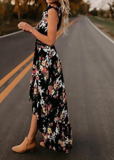 Floral Print Sleeveless Dress-Look Love Lust