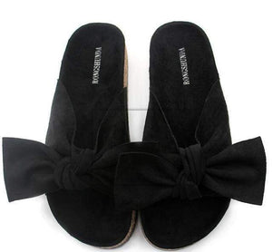 Rebecca Velvet Bow Knot Sandals-Slippers-Look Love Lust