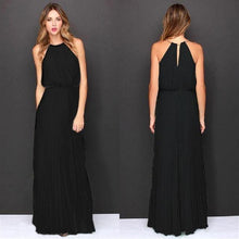 Load image into Gallery viewer, Sleeveless Halter Pleated Maxi Dresse-Dresses-Look Love Lust
