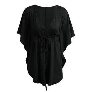 V Neckline Neck Batwing Sleeve Tunic Blouse-Blouses-Look Love Lust