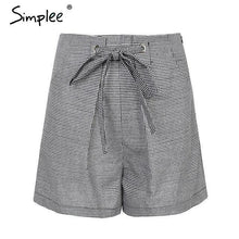 Load image into Gallery viewer, Tie Up Casual Plaid High Waist Shorts-Look Love Lust