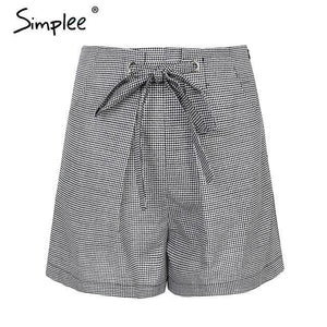 Tie Up Casual Plaid High Waist Shorts-Look Love Lust