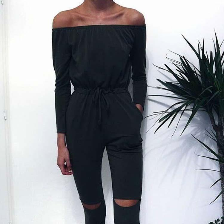Off Shoulder Long Sleeve Cutout Bodysuit-Jumpsuits-Look Love Lust