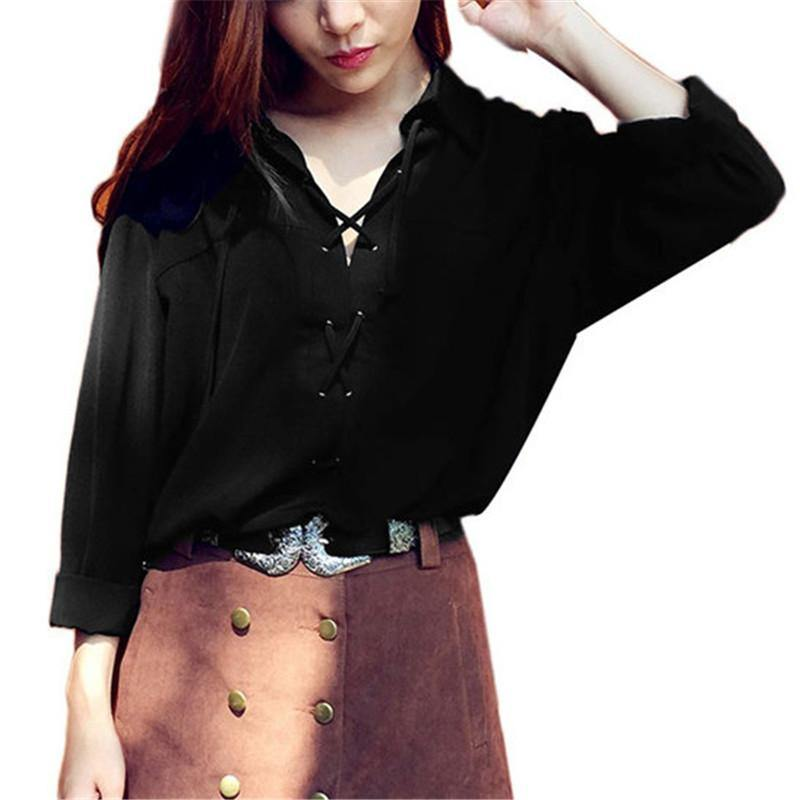 Turn Down Collar Deep V Lace Up Chiffon Blouse-Shirt-Look Love Lust