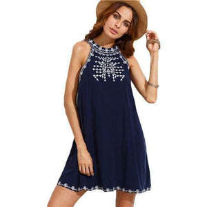 Navy Blue Embroidered Cut Out Tie Back Sleeveless Shift Dress-Look Love Lust