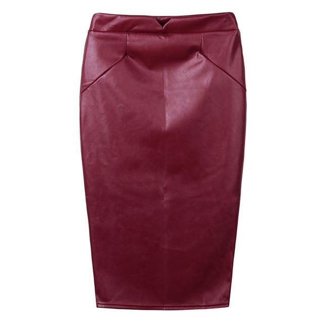"High Waist Slim Hip Faux Leather ""Mary Jane"" Pencil Skirt-Skirts-Look Love Lust"
