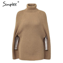 Load image into Gallery viewer, Knitted Turtleneck Sweater Cloak-dre-Look Love Lust