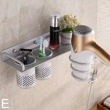 Load image into Gallery viewer, Multi-function Bathroom Hair Dryer Holder Wall Mounted Rack Space Aluminum Shelf Storage Organizer-Hair Accessories-Look Love Lust