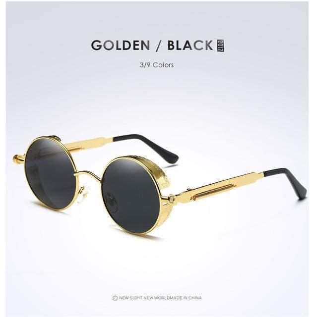 Gold Metal Polarized Gothic Steampunk Sunglasses-Sunglasses-Look Love Lust