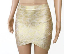 Load image into Gallery viewer, Metallic Bandage Skirt-Skirts-Look Love Lust