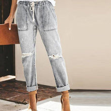 Load image into Gallery viewer, Mom Jeans Woman Pants High Waist Hole Lace up Denim Pants Trousers Drawstring ladies Jeans Women Plus Size vaqueros mujer|Jeans|-Jeans-Look Love Lust