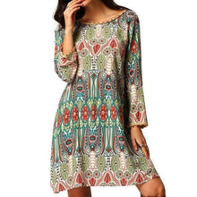 Load image into Gallery viewer, Long Sleeve Bohemian Tunic Dress-Dresses-Look Love Lust
