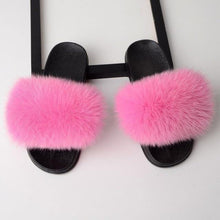 Load image into Gallery viewer, Fox Fur Flat Slipper Slides-Slippers-Look Love Lust
