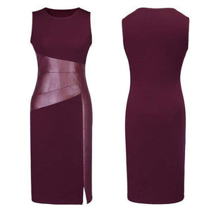 Sleeveless Midi Dress with Faux Leather Accent-Dresses-Look Love Lust