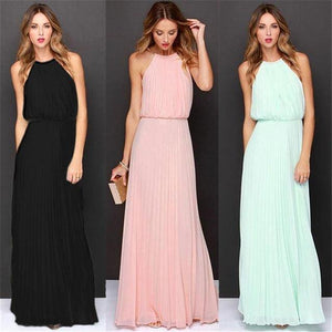 Sleeveless Halter Pleated Maxi Dresse-Dresses-Look Love Lust