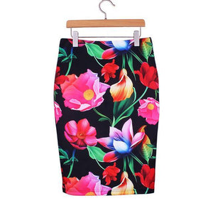 Geometric Print Pencil Skirt-Skirts-Look Love Lust