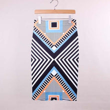 Load image into Gallery viewer, Geometric Print Pencil Skirt-Skirts-Look Love Lust