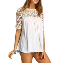 Load image into Gallery viewer, Classic Short Sleeve Blouse with Embroidered Neckline-Blouses-Look Love Lust