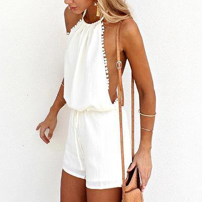 White Halter Backless Romper-Rompers-Look Love Lust