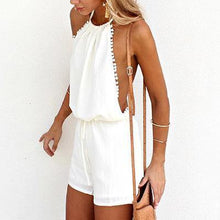 Load image into Gallery viewer, White Halter Backless Romper-Rompers-Look Love Lust