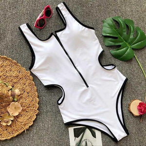 Zip Up Neckline Bathing Suit with Cut Out Details-Look Love Lust