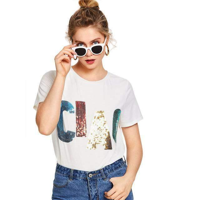 CIAO Round Neck Short Sleeve Casual T-Shirt-T-Shirts-Look Love Lust