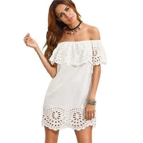 White Short Sleeve Cut Out Off The Shoulder Ruffle Dress-Dresses-Look Love Lust