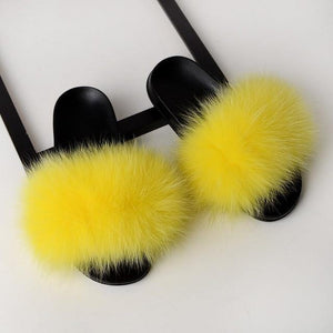 Fox Fur Flat Slipper Slides-Slippers-Look Love Lust