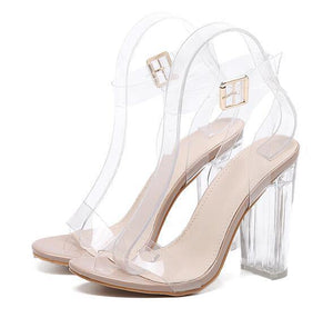 PVC Jelly Open Toed Thick High Heels-High Heels-Look Love Lust