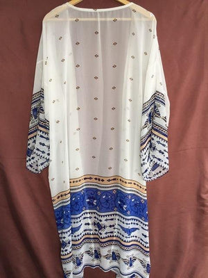 Geometric Print Blue& White Tunic Dress-Cover-Ups-Look Love Lust
