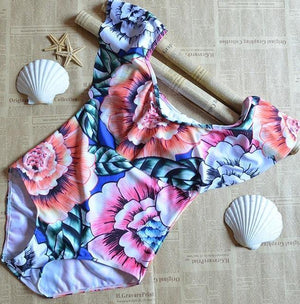 Summer Style Flowers Print One Piece Swimsuit-One-Piece Suits-Look Love Lust