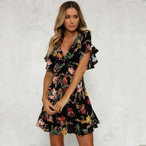 Deep V-Neck Black Flower Print Dress-Dresses-Look Love Lust