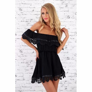 Off the Shoulder Lace Trimmed Sundress-Look Love Lust