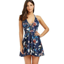 Load image into Gallery viewer, Floral Print Halter Mini Skater Dress-Look Love Lust