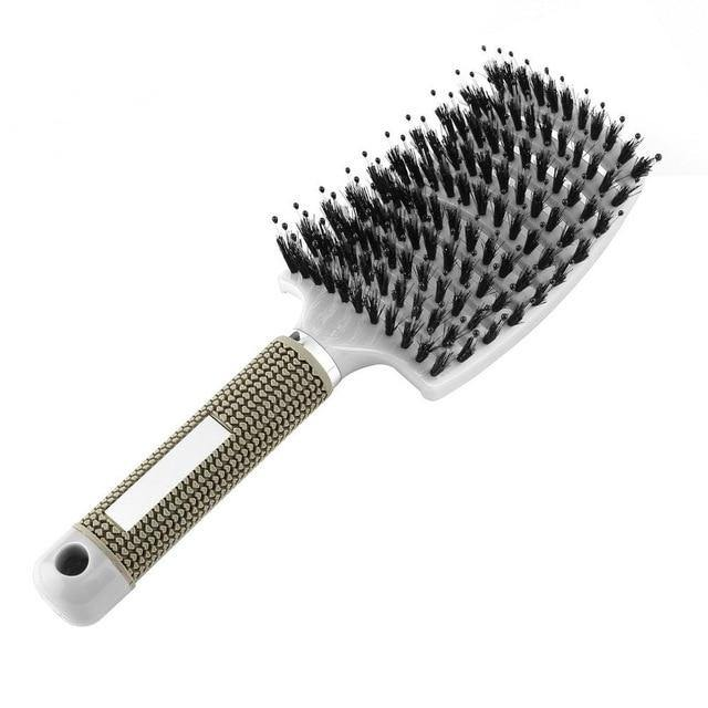 Scalp Massaging Nylon Bristle Hairbrush for Wet, Curly Hair Detangling-Hair Care-Look Love Lust