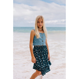 Island State Co_Legian Blue Floral Midi Skirt - The Child Hood