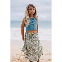 Island State Co_Floral Midi Skirt - Olive - The Child Hood