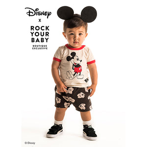 Rock Your Baby_Mickey Visage Acid Wash Baby Shorts - The Child Hood