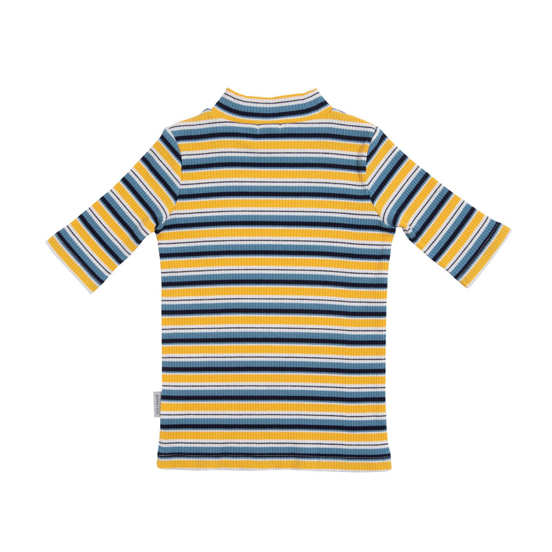 GOLDIE 3/4 SLEEVE MINI SKIVVY - YELLOW/BLUE