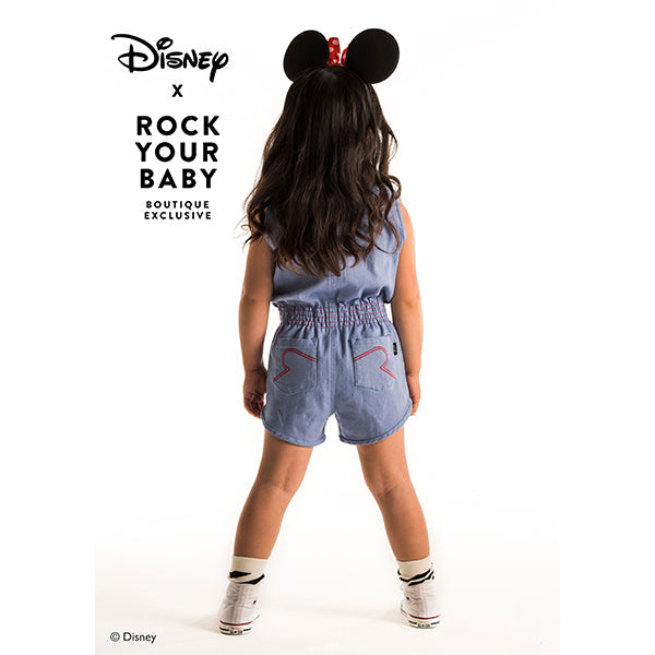 Rock Your Baby_Minnie Patch Chambray Romper - The Child Hood