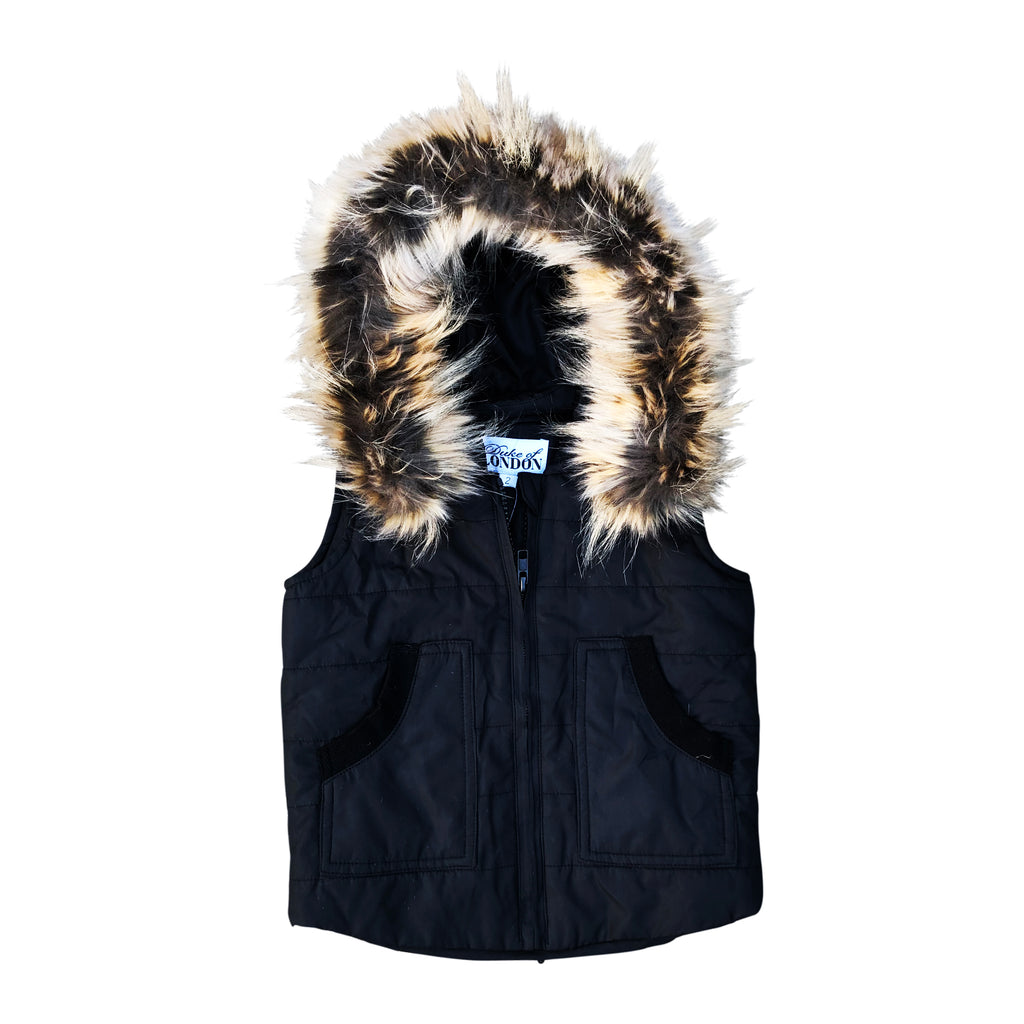 Black and Fur Puffer Vest