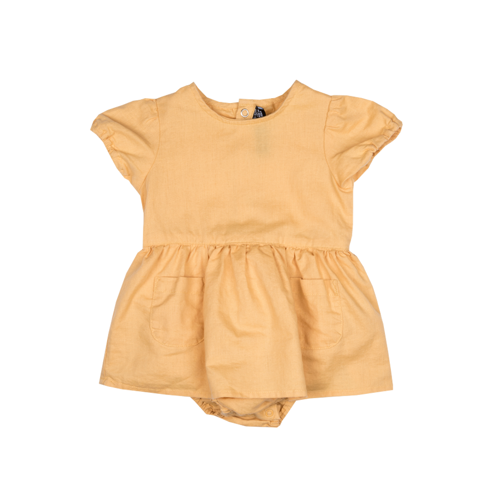 Rock Your Baby_Linen Baby Waisted Dress - Mustard - The Child Hood