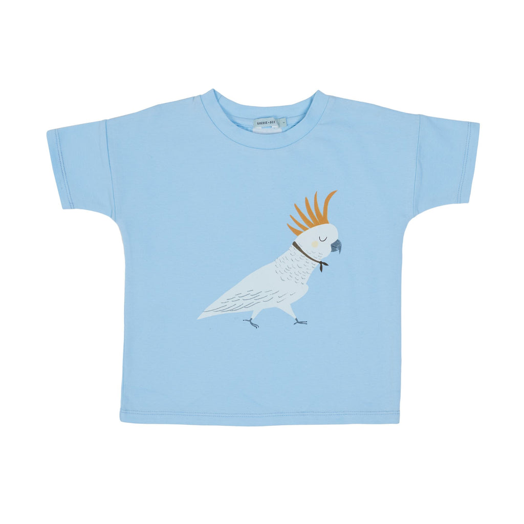 BARBARA THE COCKATOO COTTON T-SHIRT - SKY