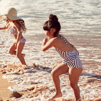 Dot Dot Swim_Black & White Striped One-Piece Peplum - The Child Hood