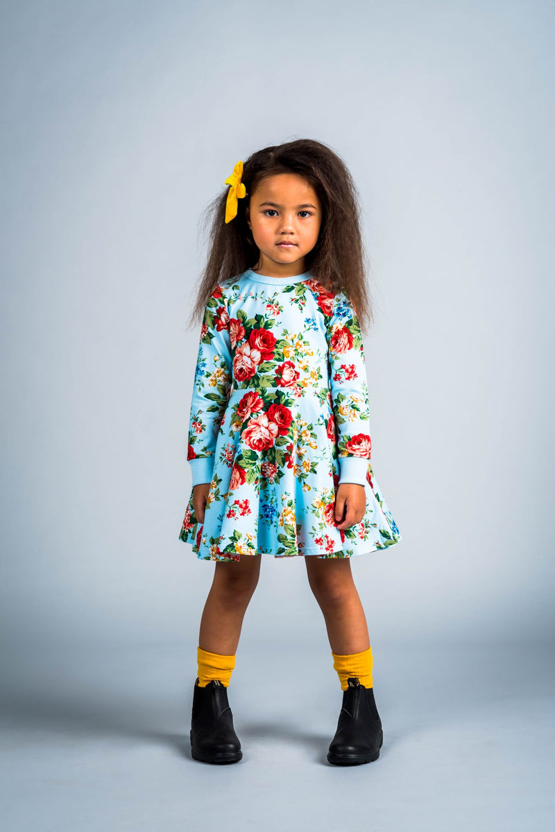 Rock Your Baby_French Floral Long Sleeve Waisted Dress - The Child Hood