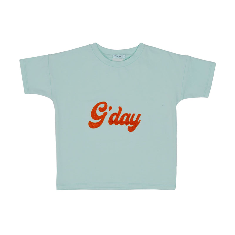G+A G'DAY COTTON T-SHIRT EMBROIDERED - SURF