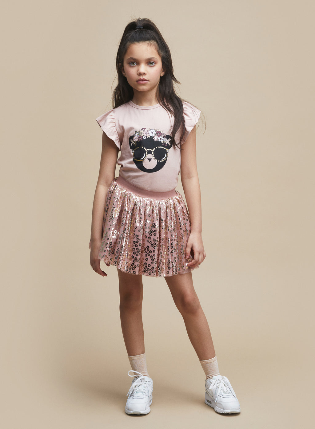Huxbaby_Gold Floral Tulle Skirt - The Child Hood