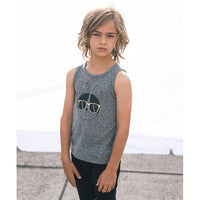 Huxbaby_Frenchie Singlet - Charcoal Slub - The Child Hood